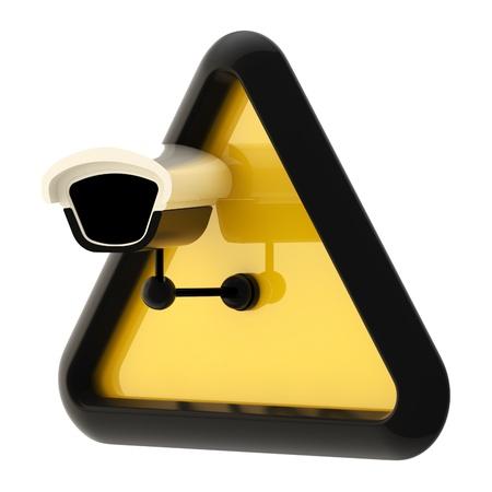 предупреждать: Камеры видеонаблюдения предупреждение знак, изолированных