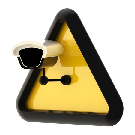 camera surveillance: Camera cctv alert sign isolated