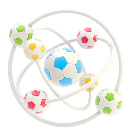 Football molecule made of balls photo