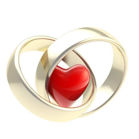 two hearts together: Heart inside golden wedding rings
