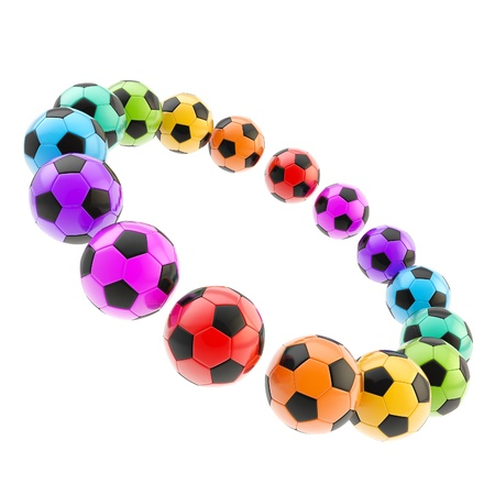 rainbow sphere: Circle frame of football soccer balls
