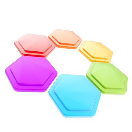 Figura abstracta de seis placas hexagonales photo