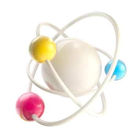 Atomic structure science emblem isolated photo