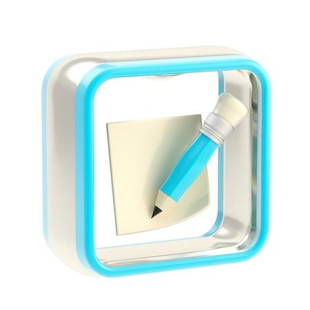 estuche: Nota icono de la aplicaci�n emblema aislado