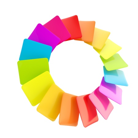 Circular rainbow palette of glossy cards photo