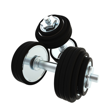 Heavy metal dumbbell pair of two photo
