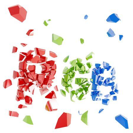 debris: RGB concept as broken into tiny pieces word