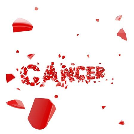 overcome: Overcome cancer, word broken into pieces
