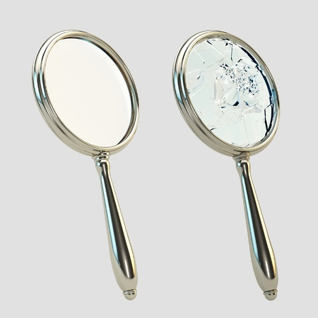 Magnifying broken glass isolated on gray photo