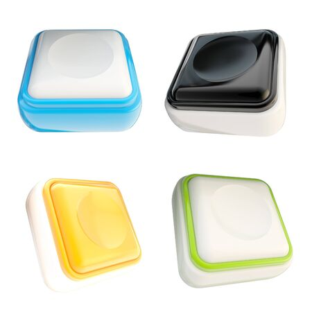 Set of glossy plastic buttons isolated Stock Photo - 14090217