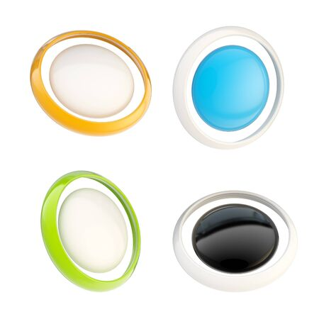 Set of glossy plastic buttons isolated Stock Photo - 14090199
