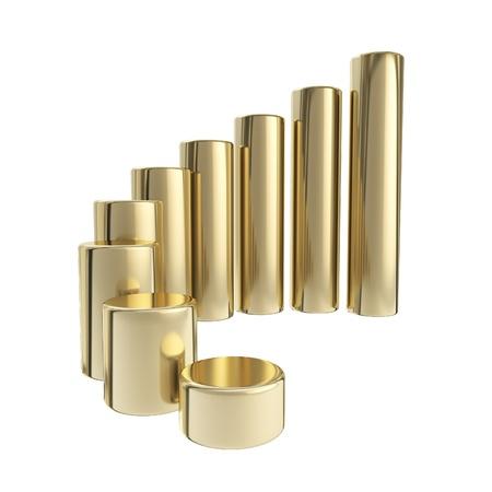Dimensional growing golden bar graph Standard-Bild