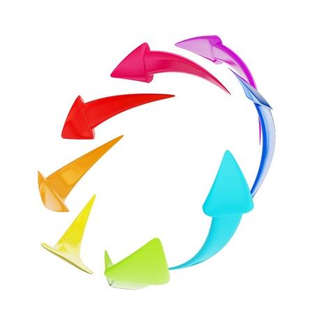 Circle of arrows shiny and glossy Stock Photo