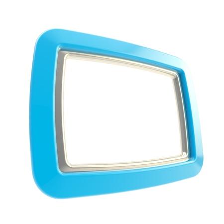 Blue copyspace glossy empty frame background Stock Photo - 14183080