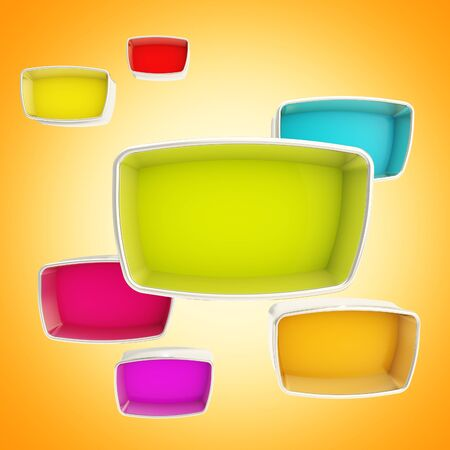 Colorful showcase boxes abstract background photo