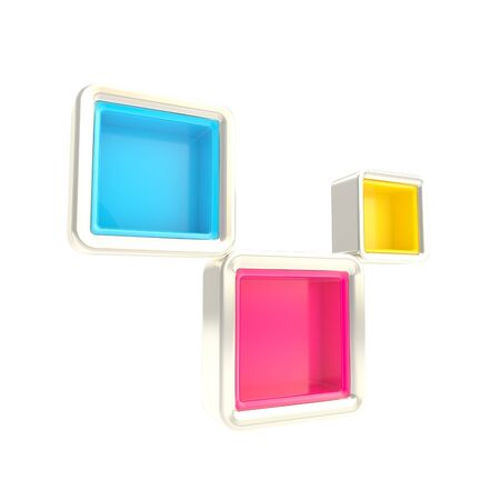 show window: Cube copyspace shelves as abstract background