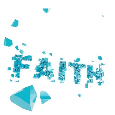 crashed: Broken faith as word crashed into pieces Stock Photo