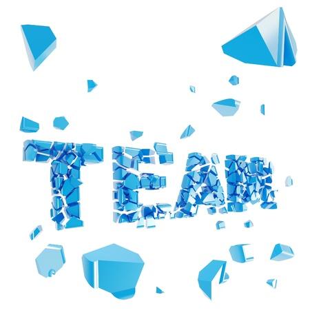 apart: Broken team metaphor, smashed word explosion