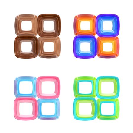 Abstract square frames isolated set photo