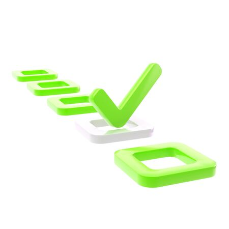 To do list, glossy tick in green check box isolated on white photo