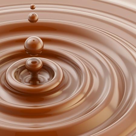 茶色の液体チョコレート ドロップ背景 写真素材