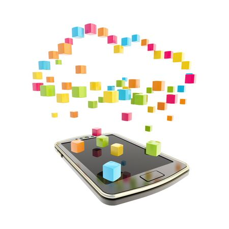 Mobile phone concept under the cloud technology computing symbol made of glossy cubes isolated on white photo