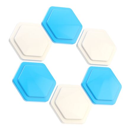 Abstract figure of six hexagon plates photo