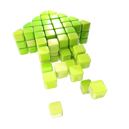 Arrow icon made of cubes isolated Stock Photo - 14183327