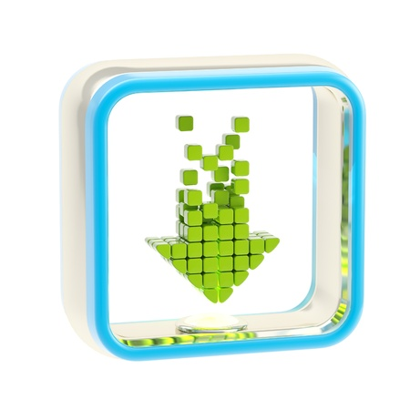 computer software: Download application icon emblem isolated Stock Photo