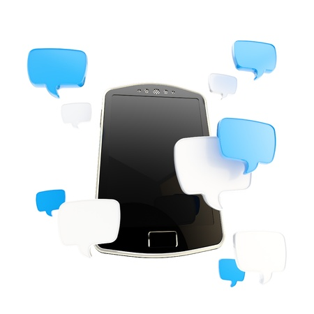 Phone surrounded with chatting icons photo