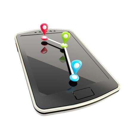 モバイル gps ナビゲーションの概念図 写真素材