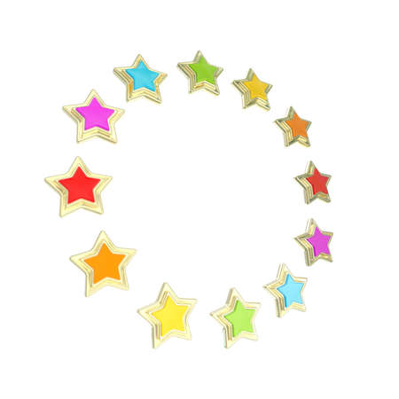 Circle star frame emblem isolated Stock Photo - 14241371