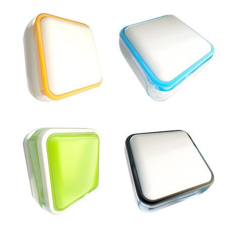 Set of glossy plastic square copyspace template buttons isolated on white Stock Photo - 14241364