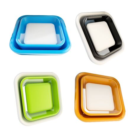Set of glossy plastic square copyspace template buttons isolated on white Stock Photo - 14241330