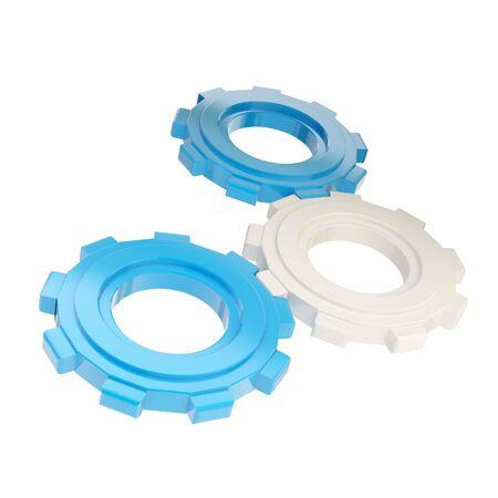 machined: Set of three plastic blue linked cogwheels
