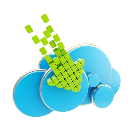 Cloud computing technology upload download icon symbol isolated on white photo