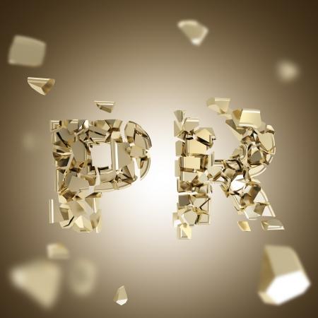 Word PR broken into pieces background