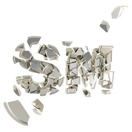Broken SM metaphor, smashed word explosion photo