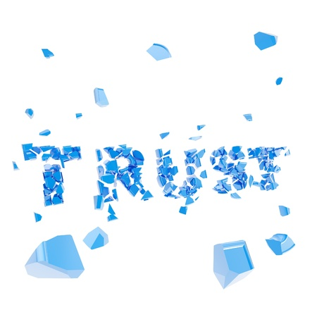 Failed trust as word broken into pieces photo