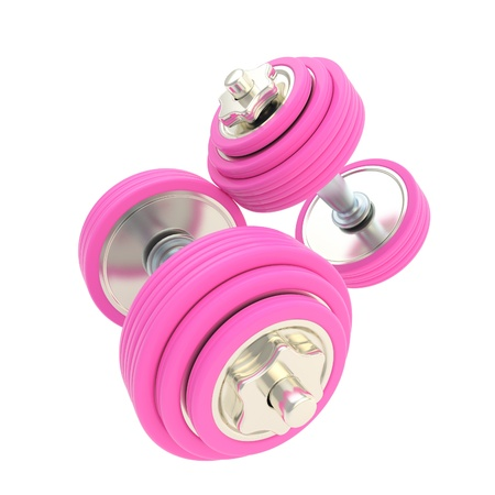 woman lifting weights: Women strength  pink pair of dumbbells Stock Photo
