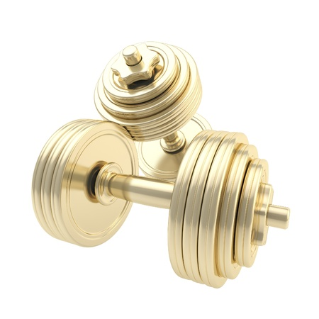 Golden dumbbells one on another isolated photo