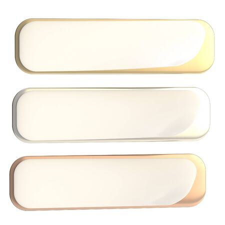 bend: Bend corner banner, set of gold, silver and bronze, isolated on white