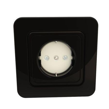 Black glossy socket isolated on white photo
