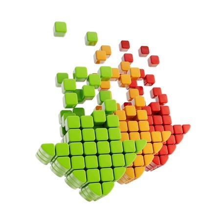 Cubic arrow emblem icon isolated on white photo