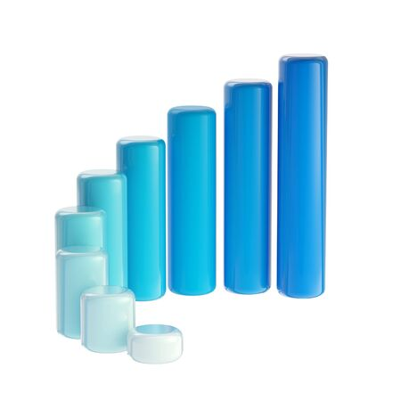 Blue graph bar dimensional, glossy, isolated photo