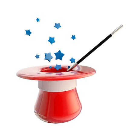requisite: Magician hat and magic wand with stars Stock Photo