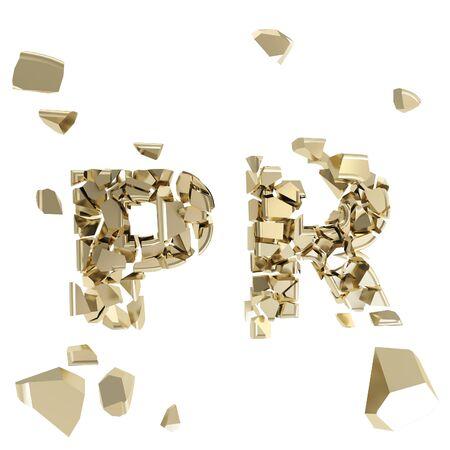debris: Broken PR metaphor, smashed word explosion Stock Photo