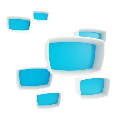 Blue glossy showcase copyspace case boxes photo