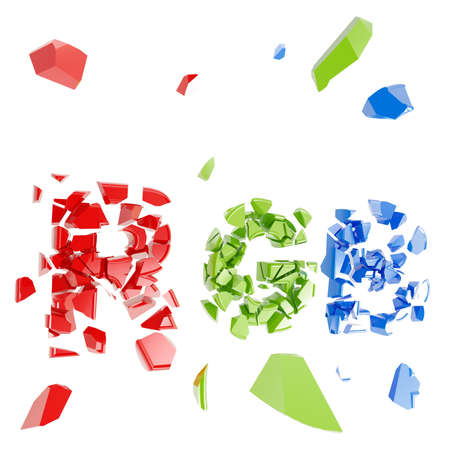 crashed: Word RGB crashed into little pieces