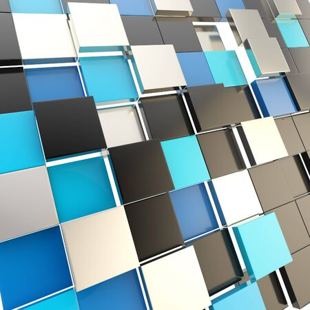 Futuristic copyspace background of cubic plates photo